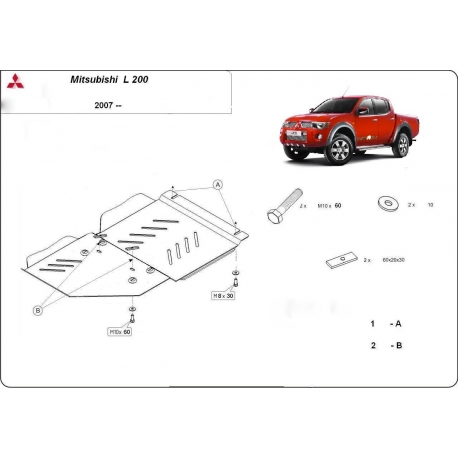 Mitsubishi L200 (Schutz für Differential) 2.0, 2.4 (4WD), 2.5TDi (4WD) - Stahl