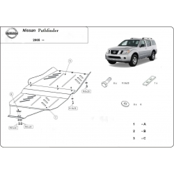 Nissan Pathfinder (Schutz für Differential und Schaltgetriebeschutz) 2.5 dCi (4WD), 4.0 (4WD) - Stahl