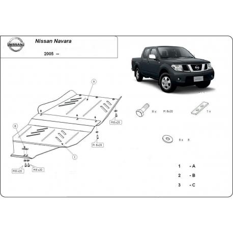 Nissan Navara (Schutz für Differential und Schaltgetriebeschutz) 2.5 dCi (4WD), 4.0 (4WD) - Stahl