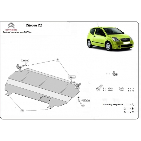 Citroen C2 Unterfahrschutz 1.1, 1.4B, 1.4HDI, 1.6, 1.6HDI - Stahl