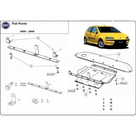 Fiat Punto II Unterfahrschutz 1.2 8V, 1.3D, 1.4 8V, 1.4 16V - Stahl