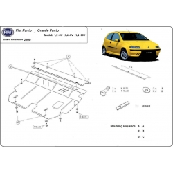 Fiat Grande Punto Unterfahrschutz 1,2 8V, 1,4 8V, 1,4 16V - Stahl
