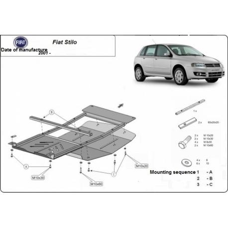 Fiat Stilo Unterfahrschutz 1.4, 1.6, 1.8 - Stahl