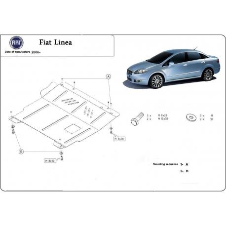 Fiat Linea Unterfahrschutz 1.2 8V, 1.3 D, 1.4 8V, 1.4 16V - Stahl