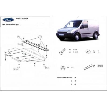 Ford Connect Unterfahrschutz 1.6,1.8 / 1.8D, 2.0 - Stahl