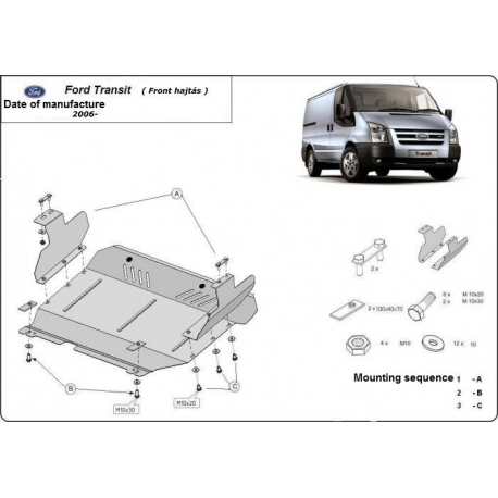 Ford Transit (Unterfahrschutz - frontantrieb) 1.7TDci, 2.4TD - Stahl