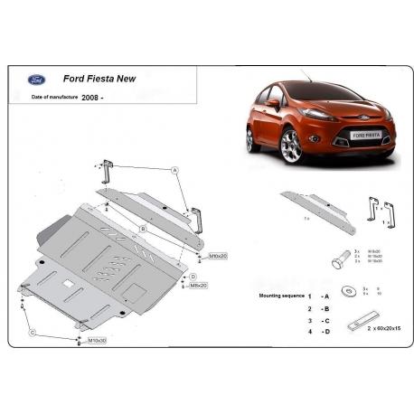 Ford Fiesta Unterfahrschutz 1.3, 1.4, 1.6 - Stahl