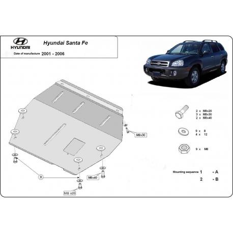 Hyundai Santa Fe Unterfahrschutz 2.0, 2.4, 2.7, CRDi (4x4) - Stahl
