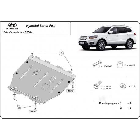 Hyundai Santa Fe II Unterfahrschutz 2.0, 2.2, 2.7, CRDi (4x4) - Stahl