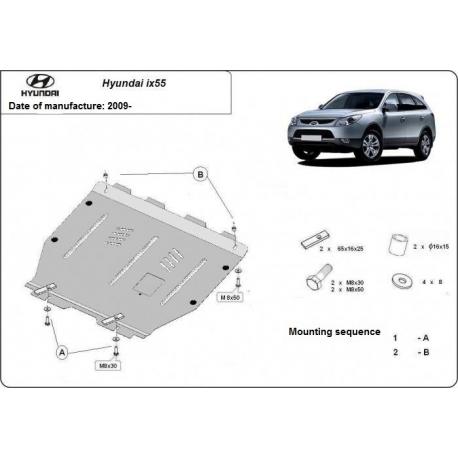 Hyundai ix55 Unterfahrschutz 2.0CRDi, 2.0Mpi, 2WD, 4WD - Stahl