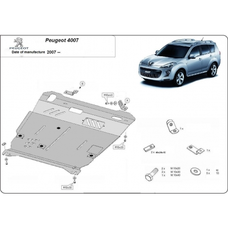 Peugeot 4007 Unterfahrschutz 2.0, 2.0(4WD), 2.0T, 2.4(4WD) - Stahl