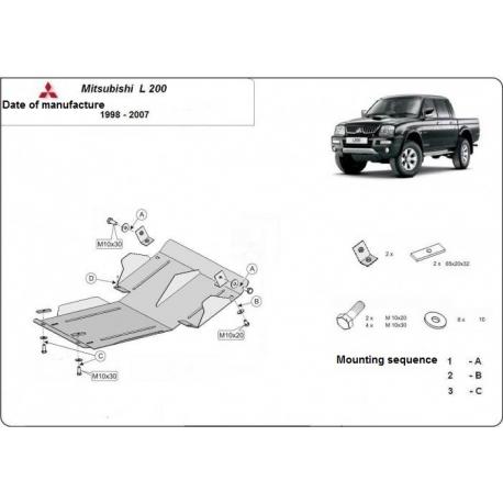 Mitsubishi L200 Unterfahrschutz 2.0, 2.4(4WD), 2.5TDi, (4WD) - Stahl