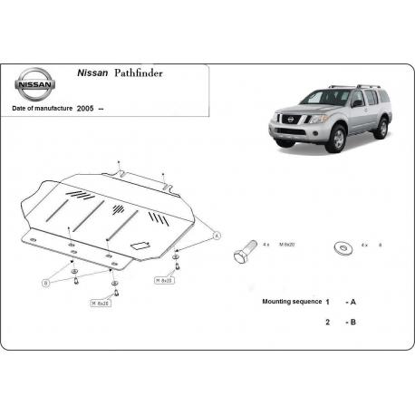 Nissan Pathfinder Unterfahrschutz 2.5 dCi(4WD), 4.0(4WD) - Stahl