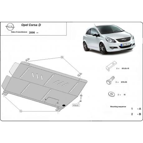 Opel Corsa D Unterfahrschutz 1.2, 1.3 - Stahl