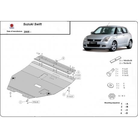 Suzuki Swift Unterfahrschutz 1.1, 1.3, 1.5TDi - Stahl