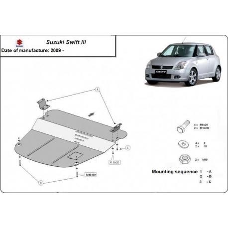 Suzuki Swift III Unterfahrschutz 1.1, 1.3, 1.5TDi - Stahl