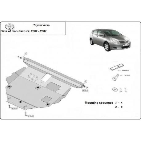 Toyota Corolla Verso Unterfahrschutz 1.6, 1.8, 2.0D - Stahl
