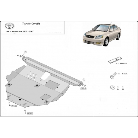 Toyota Corolla Unterfahrschutz 1.4, 1.6, 1.8, 2.0D - Stahl