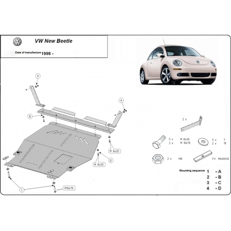 VW Beetle Unterfahrschutz 1.6, 1.8 Turbo, 2.0 - Stahl