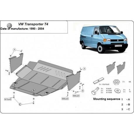 VW Transporter T4 Unterfahrschutz 2.0, 2.4, 2.5, 2.8TDi - Stahl