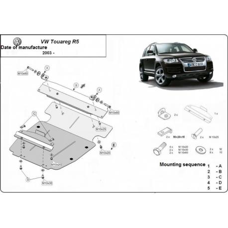 VW Touareg R5 Unterfahrschutz 2.5TDI, 3.0TDi, 3.2 V6 - Stahl