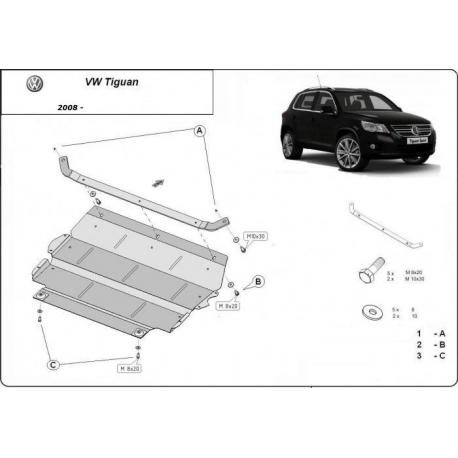 VW Tiguan Unterfahrschutz 1.4, 1.6, 2.0TDi - Stahl