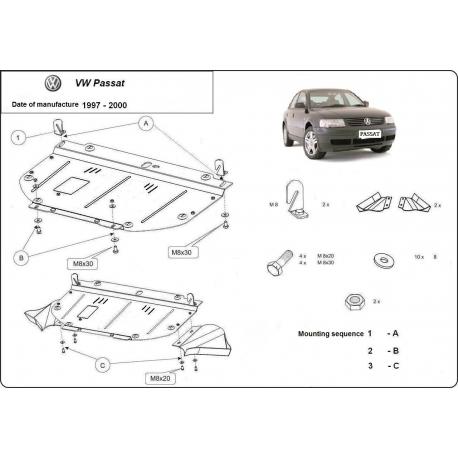 VW Passat B5 Unterfahrschutz 1.6, 1.8, 1.9TDi - Stahl