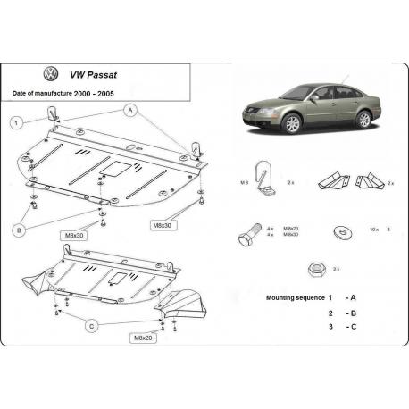 VW Passat B5, B6 Unterfahrschutz 1.8, 1.9Pd, TDi - Stahl