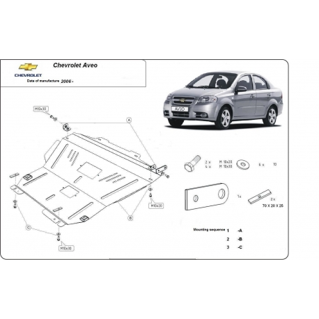 Chevrolet Aveo Unterfahrschutz - Stahl