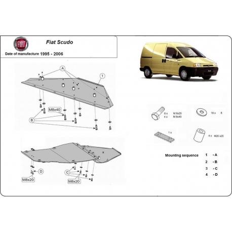 Fiat Scudo Unterfahrschutz 1.8, 1.9D, 1.9TD, 2.0HDI, 2.3JTD, 2.5TD, 2.8JTD - Stahl