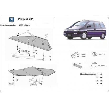 Peugeot 806 Unterfahrschutz 1.8, 1.9D, 1.9TD, 2.0HDI, 2.3JTD, 2.5TD, 2.8JTD - Stahl