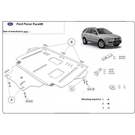 Ford Facelift Unterfahrschutz 1.4, 1.6, 1.6TD, 2.0, 2.0TD - Stahl