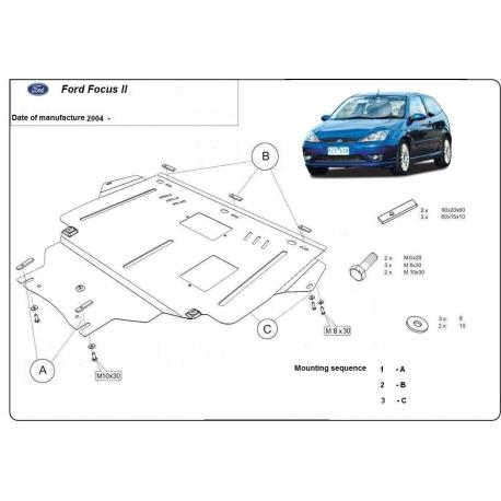 Ford Focus II Unterfahrschutz 1.4, 1.6, 1.6TD, 2.0, 2.0TD - Stahl