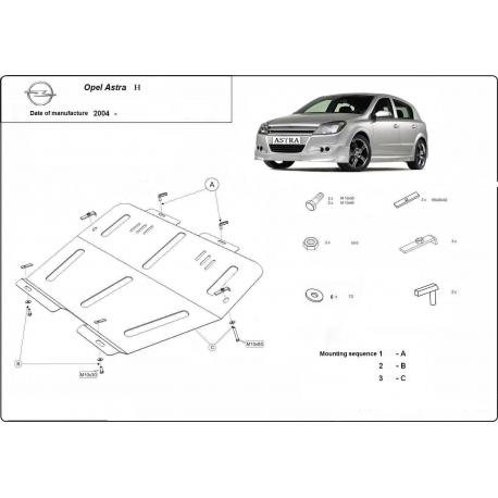 Opel Astra H Unterfahrschutz 1.3D, 1.4, 1.6, 1.8, 1.9D, 2.0 - Stahl