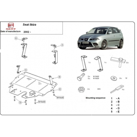 Seat Ibiza Unterfahrschutz 9N, 1.2, 1.4, 1.9TDi - Stahl