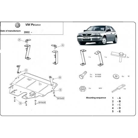 VW Pointer Unterfahrschutz 9N, 1.2, 1.4, 1.9TDi - Stahl
