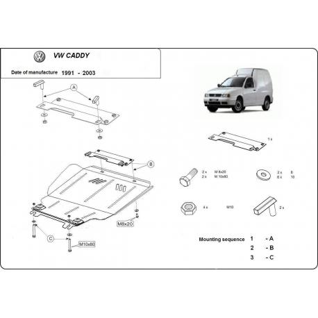 VW Caddy Unterfahrschutz 1.4, 1.6, 1.9D - Stahl