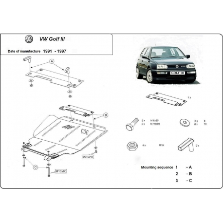 VW Golf 3 Unterfahrschutz 1.4, 1.6, 1.9D - Stahl