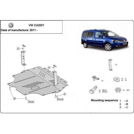 VW Caddy Unterfahrschutz 1.2, 1.4, 1.6TDi - Stahl