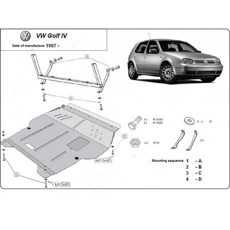 VW Golf 4 Unterfahrschutz 1.4, 1.6(101HP), 1.8, 1.8RS, 1.9TD, 2.0, 2.3 V5 - Stahl
