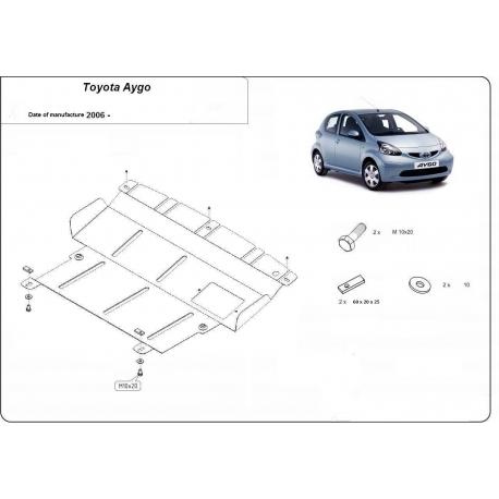 Toyota Aygo Unterfahrschutz 1.0, 1.4HDi - Stahl