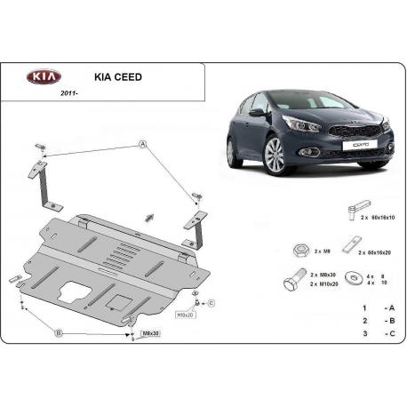 Kia Ceed Unterfahrschutz 1.4, 1.6 - Stahl