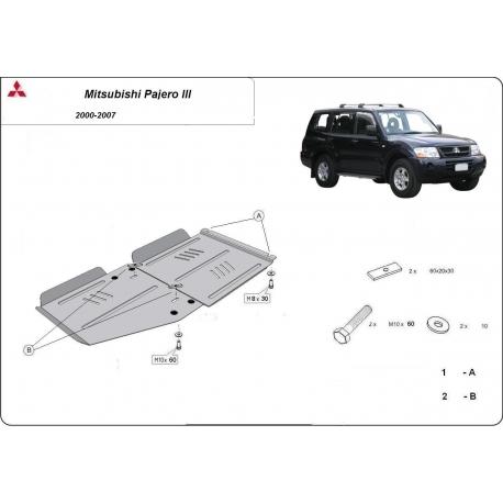 Mitsubishi Pajero III (V60, V70) Getriebeschutz 3.5 Gdi, 2.5 Tdi, 3.2 Di-d - Stahl