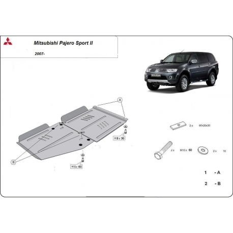 Mitsubishi Pajero Sport II Getriebeschutz 2.5Td, 3.0, 3.2Td, 3.5 - Stahl