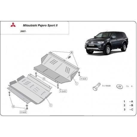 Mitsubishi Pajero Sport II Unterfahrschutz 2.5Td, 3.0, 3.2Td, 3.5 - Stahl