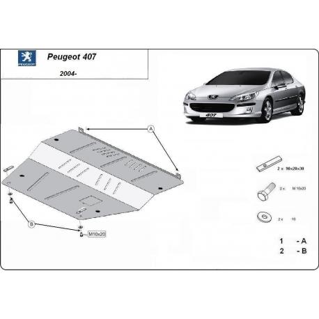 Peugeot 407 Unterfahrschutz - Stahl