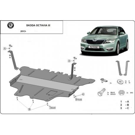 Škoda Octavia III Unterfahrschutz 1.2Tsi, 1.6 - Stahl