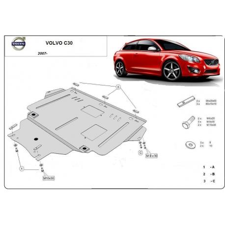 Volvo C30 Unterfahrschutz 1.4, 1.6, 1.8, 2.0, B+ Tdi - Stahl