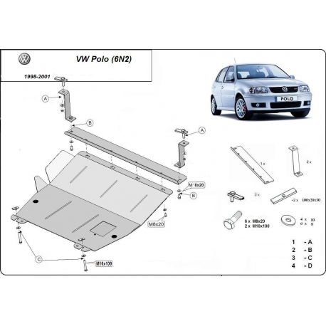 VW Polo 6n2 Unterfahrschutz 1.0, 1.2, 1.4 - Stahl