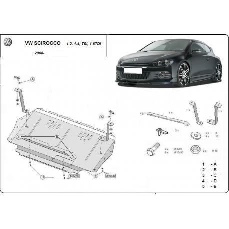 VolkswagenScirocco Unterfahrschutz1.2, 1.4, TSI, 1.6TDI - Stahl